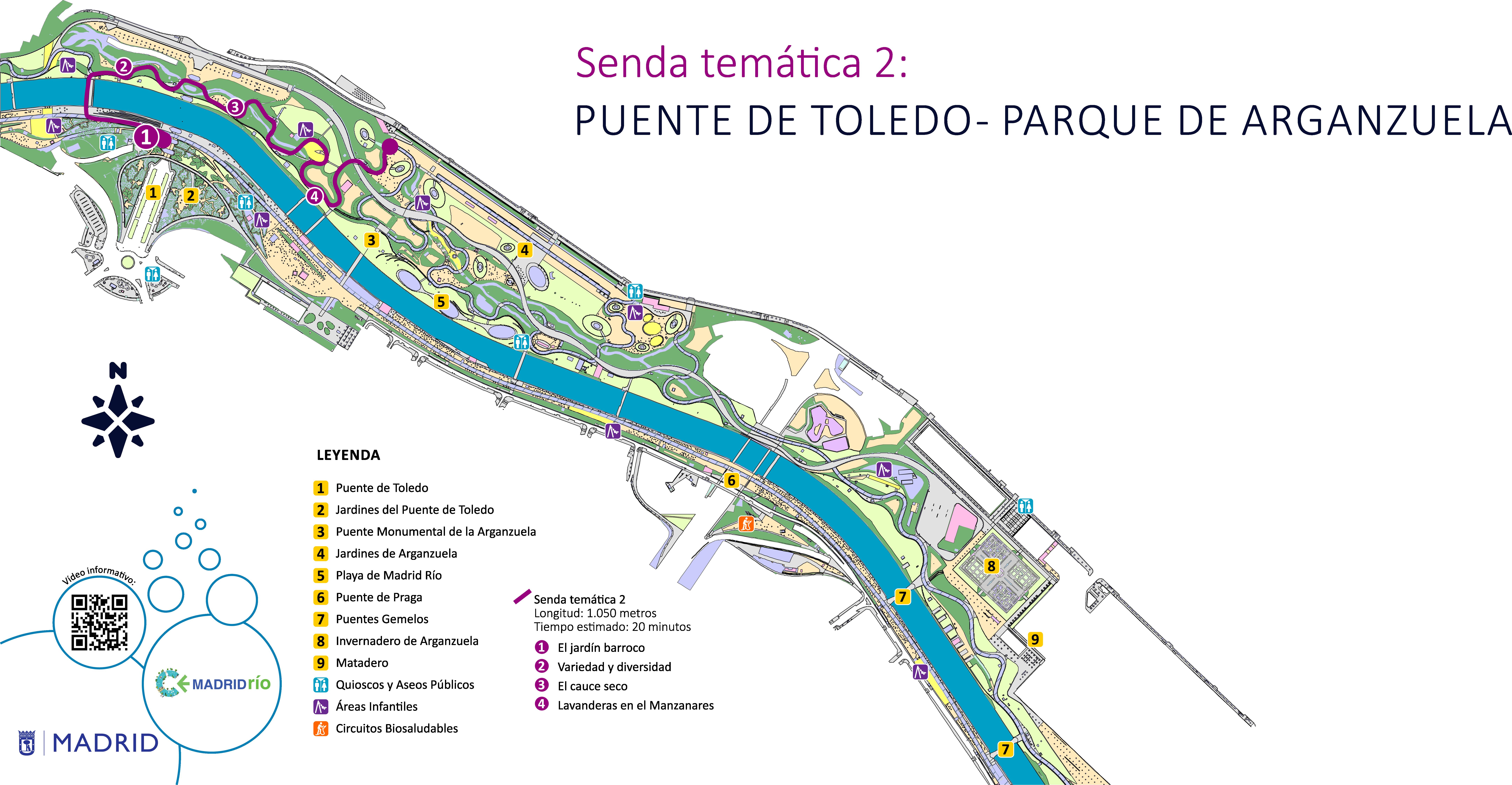 Mapa senda temática 2, puente de Toledo, parque de Arganzuela