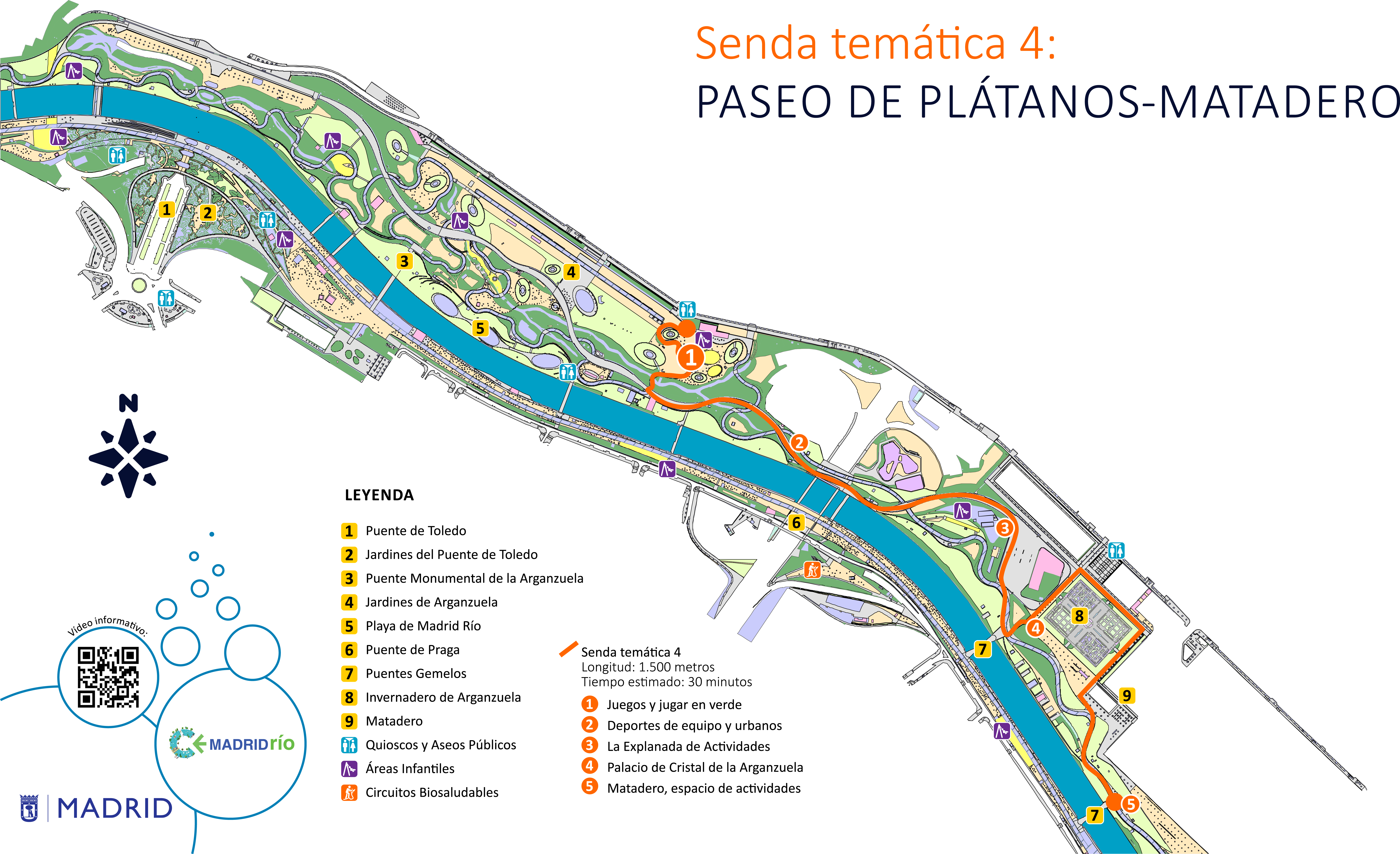 Mapa senda temática 4, Paseo de los plátanos, matadero